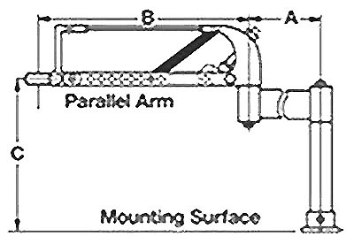 Drawing showing the dimensions of a Cleco parallel balance arm.