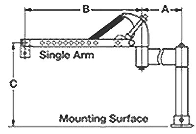 Drawing showing the dimensions of a Cleco single balance arm.