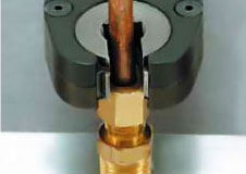 Photo showing the first step in the tightening process of a Cleco 24 Series tube nut wrench.